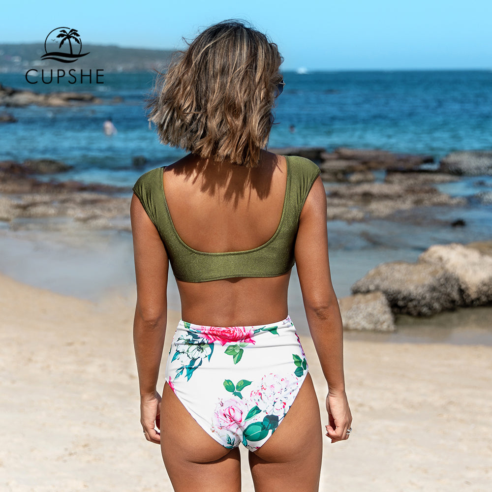 Green and white floral high waist bikini sets sexy bow-knot swimsuit two piece bathing suit new for 2020 beach - SolBikini
