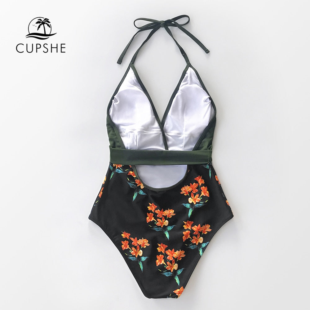Green and black floral halter one-piece sexy v-neck backless monokini summer beach girl new for  2020 swimsuit - SolBikini