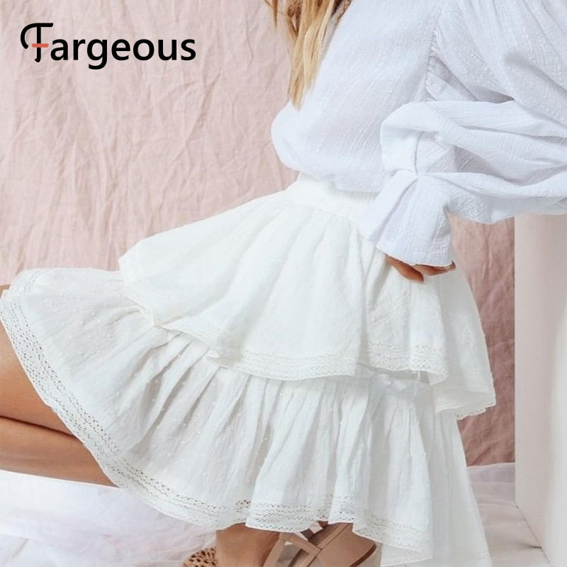Casual white pleated polka dot short 2020 summer fashion high waist lace skirt - SolBikini