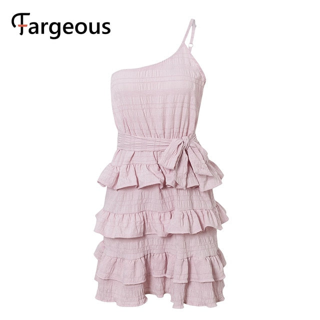 Sweet pink one shoulder spaghetti strap high waist sashes cake dress ruffle mini sundress - SolBikini