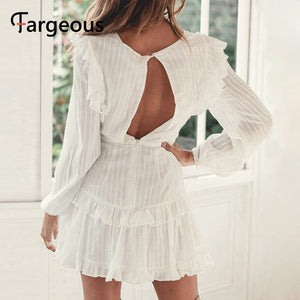 Long sleeve winter autumn short pleated hollow out sexy blue backless white lace party dress - SolBikini