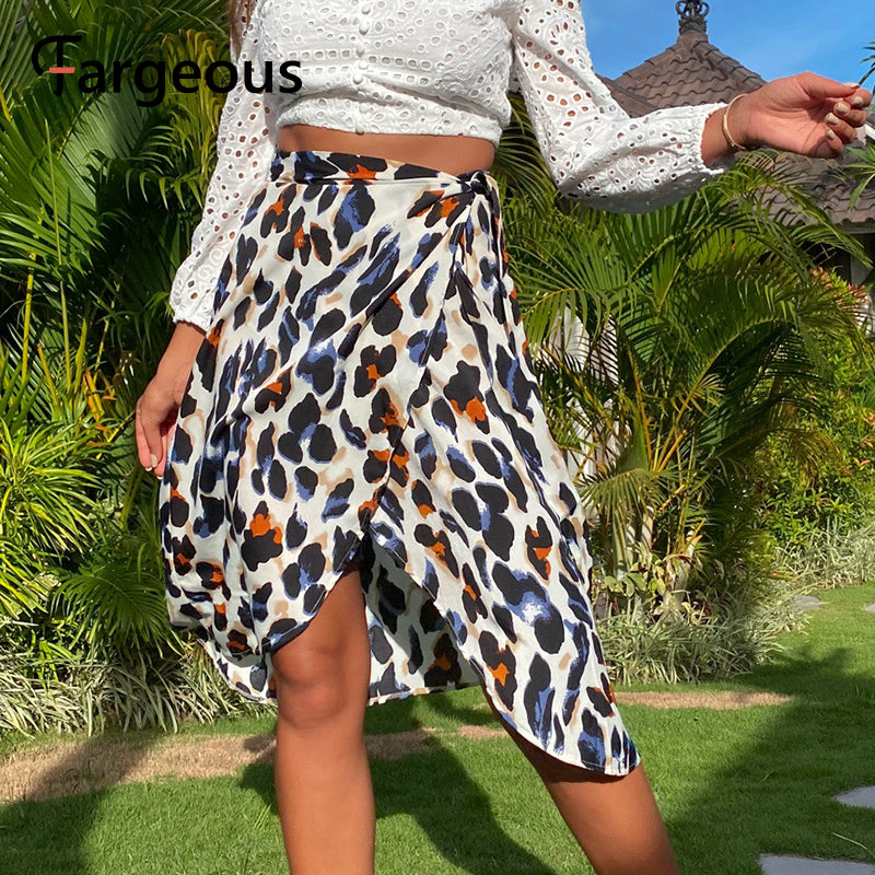 Leopard wrap skirt new for 2020 summer casual beach midi skirt plus size - SolBikini