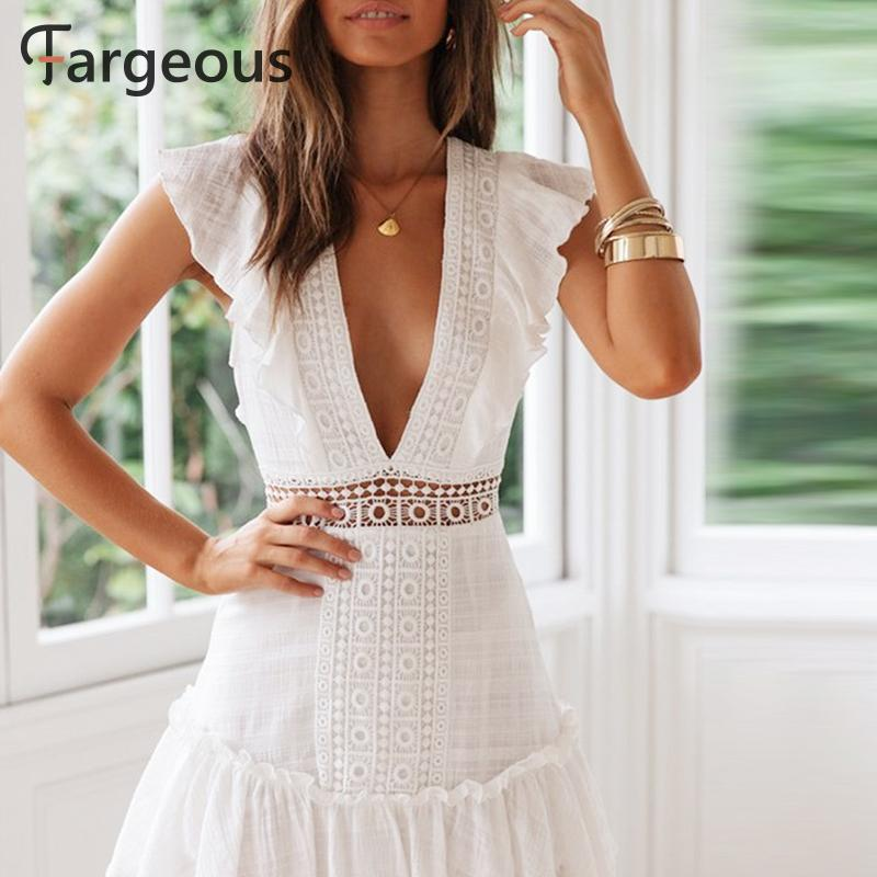 Elegant white embroidery short summer sexy v backless lace up high waist party dress - SolBikini