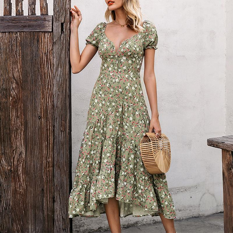 Green floral print midi v neck puff sleeve puffed high waist new for 2020 summer dress - SolBikini