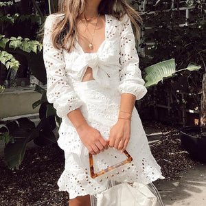 Vintage white embroidery short dress female 2020 new casual hollow out v-neck lace up dress - SolBikini