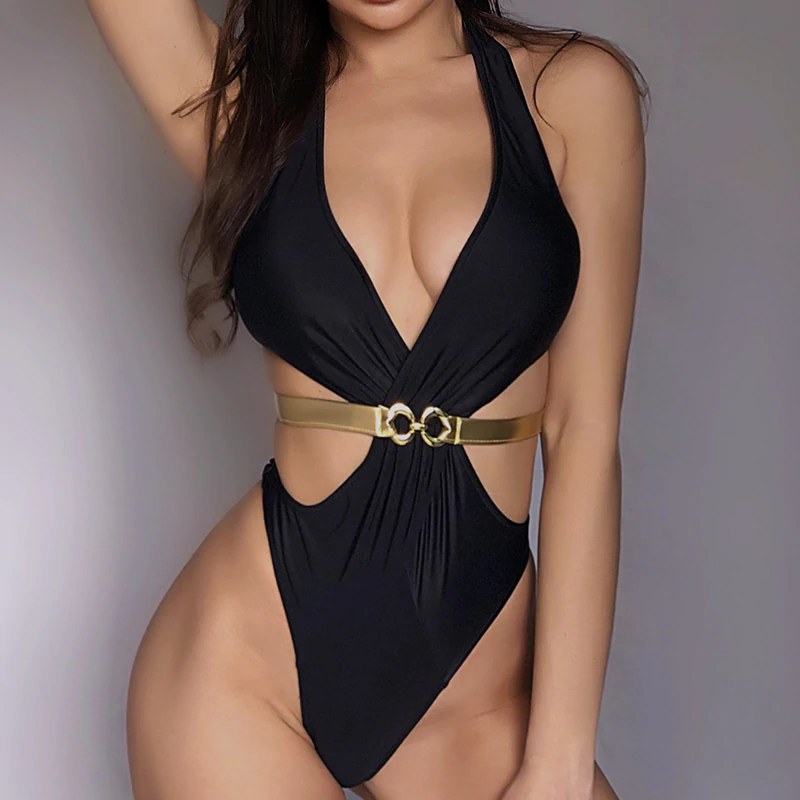 New For 2020 Deep V-Neck Summer Beach Monokini One-Piece Sexy Brazilian Swimsuit - SolBikini
