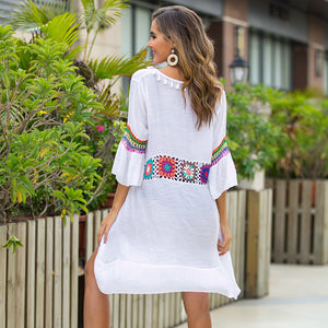 New For 2020 Women's Summer Beach Girl Bohemia Floral Print Bikini Cover Beach Maxi Wrap Sarong Kimono Dress - SolBikini