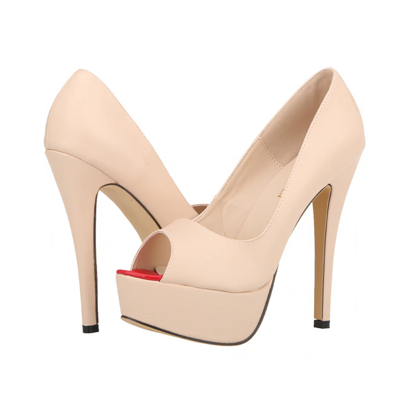 New 2020! Nude Summer Fashion Sexy 5 inch Platform Cocktail Party High Hell Pumps - SolBikini