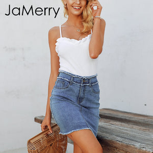 Sexy pencil denim skirt Tassel high waist bodycon mini skirt Casual street-wear jeans summer skirts - SolBikini