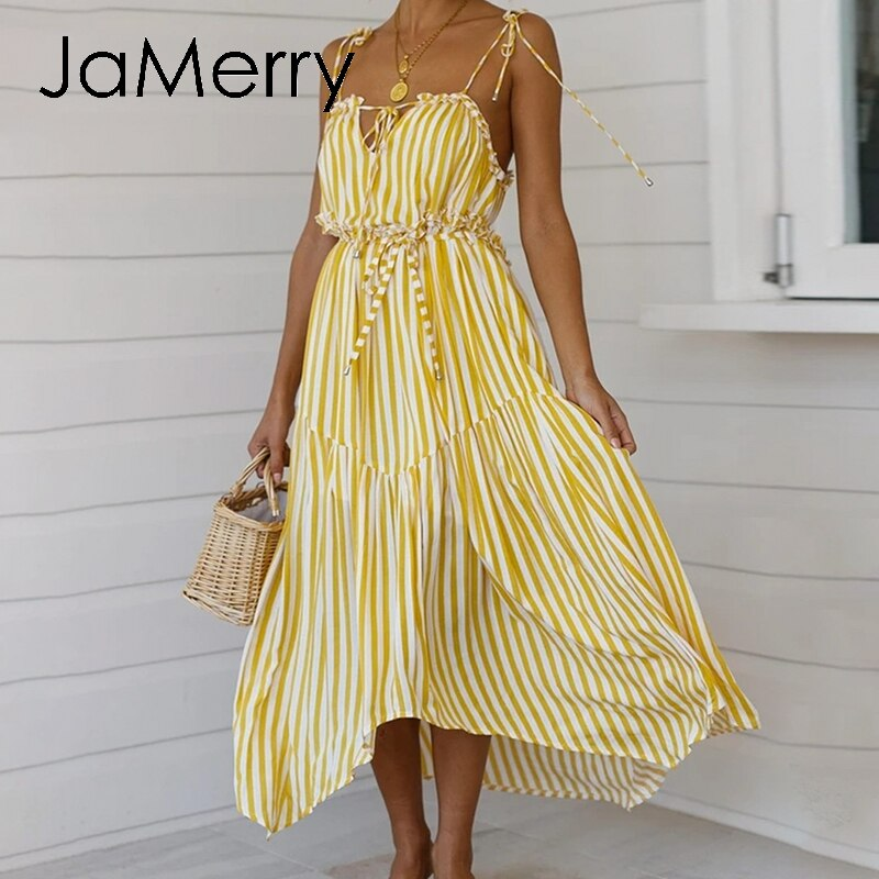 Sexy Bohemian JaMerry V-Neck Sleeveless Summer Striped Bow Maxi beach Dress - SolBikini