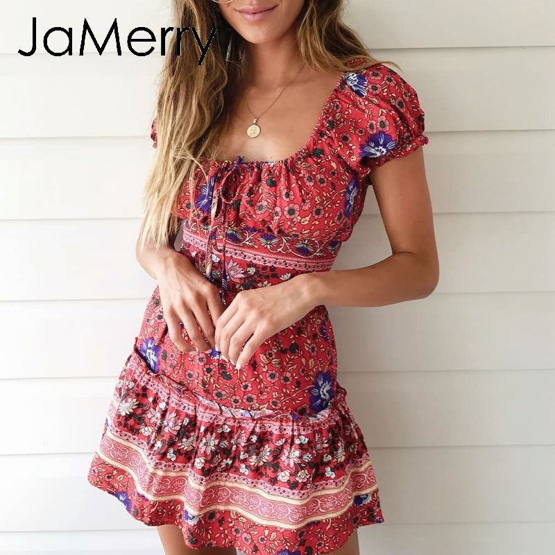 Vintage bohemian floral print mini dress short boho two piece ruffles sundress beach dress - SolBikini