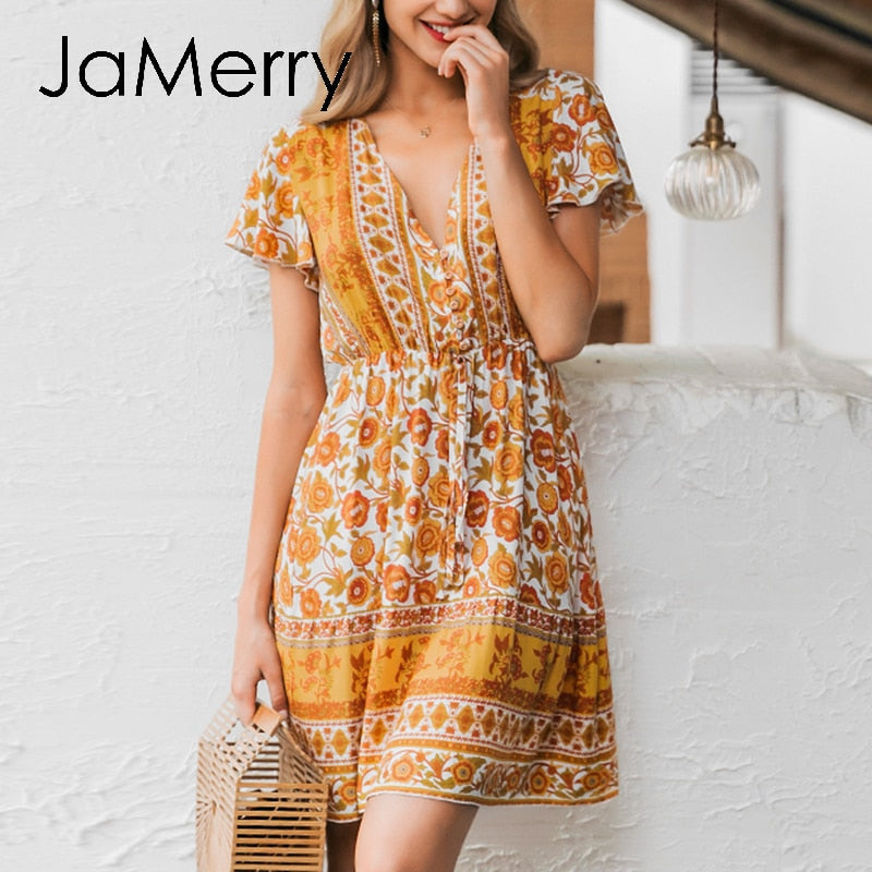 Boho v-neck floral print 2020 summer casual beach dress chic buttons orange vacation short dress - SolBikini