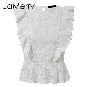 White lace embroidery tank top hollow out o-neck tops summer style street-wear top - SolBikini