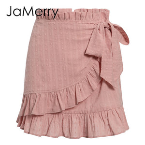 Elegant flower ruffled summer skirt casual high waist bow tie sash warp skirt party skirts 2020 - SolBikini