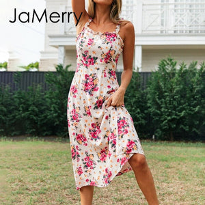 Floral print ruffle sleeveless high waist sundress street-wear strap spring chic holiday party boho dress - SolBikini