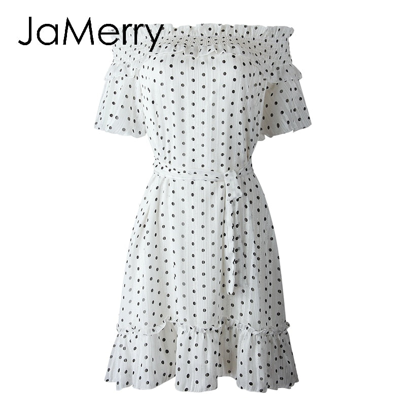 Polka dot chiffon print sexy word neck short sleeve bow casual summer mini dress - SolBikini