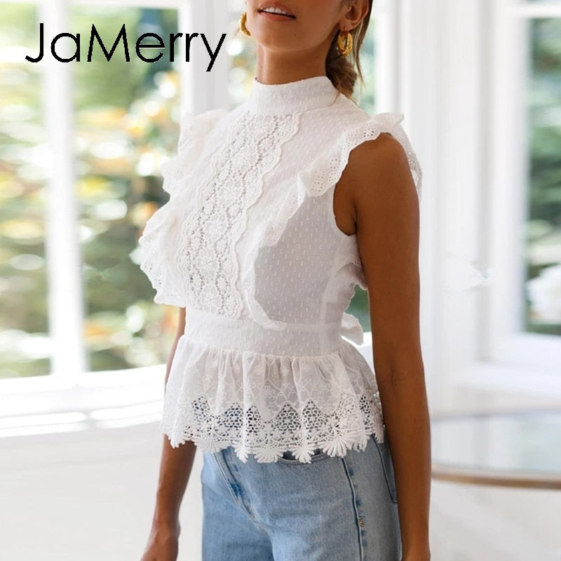 Backless lace embroidery white ruffles hollow out tops summer style street-wear tops - SolBikini