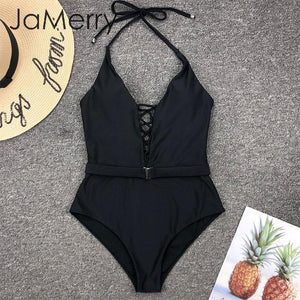Sexy halter swimsuit one piece lace up swimwear bandage push up bodysuits monoikini bathers bikini swimsuit - SolBikini