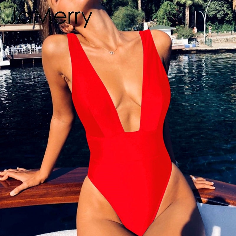 Sexy deep v neck solid one-piece bikini swimsuit summer beach vacation monokini - SolBikini