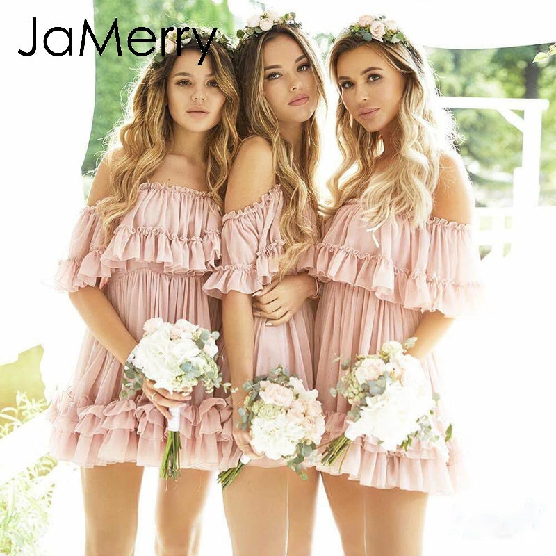 JaMerry sexy ruffle off shoulder mini spaghetti strap summer beach pink short mini summer dress new for 2020 - SolBikini