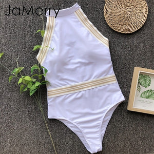 Sexy backless elegant white one-piece bikini swimwear play-suit solid beach summer monokini - SolBikini