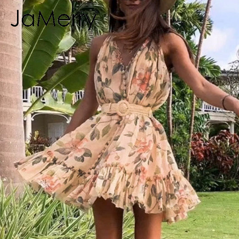JaMerry sexy sleeveless solid ruffled sash buttons summer party casual chiffon beach mini dress - SolBikini