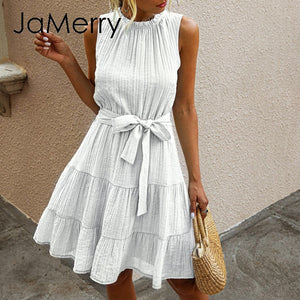 Summer sleeveless sexy solid ruched high waist casual summer ruffles chic cotton plus size dress 2020 - SolBikini