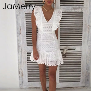 Summer Vintage White Lace Cotton Women's Fashion Casual Beach Mini Dress - SolBikini