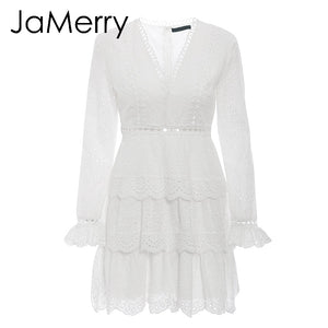 Vintage hollow out white lace embroidery ruffled a line long sleeve sexy elegant party mini dress - SolBikini