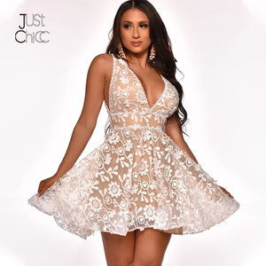 New 2020! Mesh Mini White Lace Floral Double Layer Sleeveless Summer Dress - SolBikini