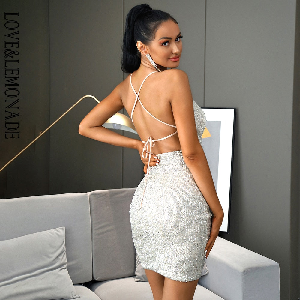 Sexy Silver Drop Collar Big Backless Bodycon Elastic Sequin Party Mini Dress New 2021