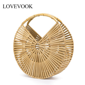 Bamboo travel wooden beach bag high quality bamboo and rattan summer bohemia 2020 - SolBikini