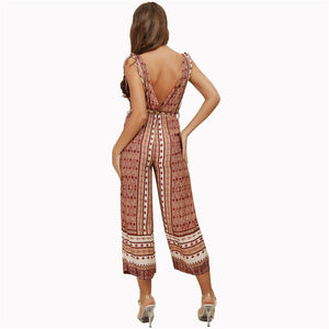 Jumpsuits Rompers Play-suits Body Summer Sexy Bodysuit V Neck Bohemian Long pants - SolBikini