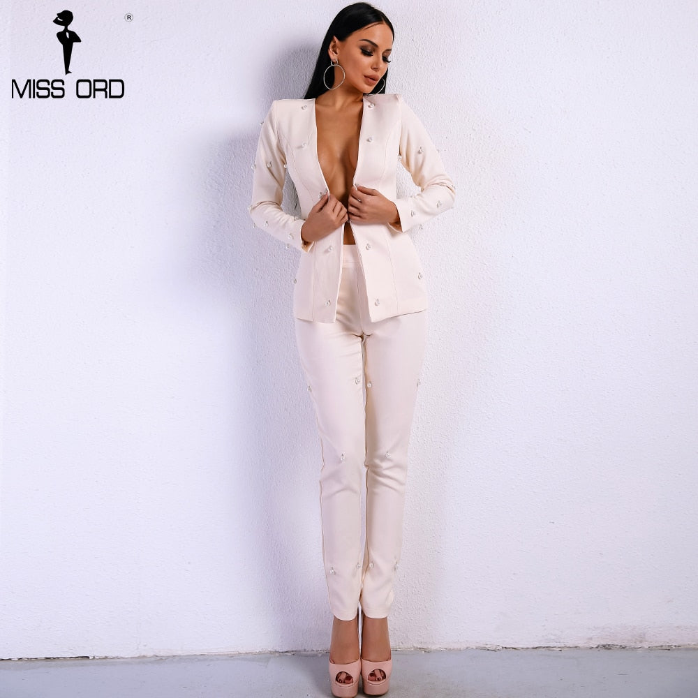 New For 2020 Sexy Long Sleeve Two Piece Set Solid Beige Playsuit - SolBikini