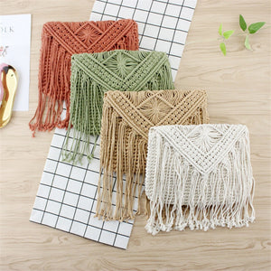 Fashion casual straw hollow tassel beach flip hand woven cotton rope cross-body shoulder bag - SolBikini