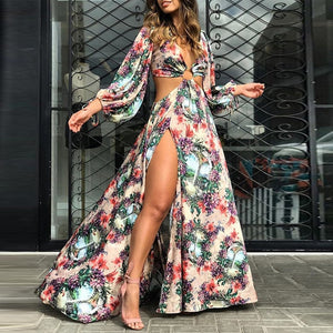 Summer Autumn Floral Print Cutout Thigh Slit Maxi Holiday Beach Boho Long Dress Sexy Backless Party Gowns - SolBikini