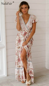 Vintage floral maxi  elegant beach sash sexy v neck split print tunic long summer boho dress - SolBikini