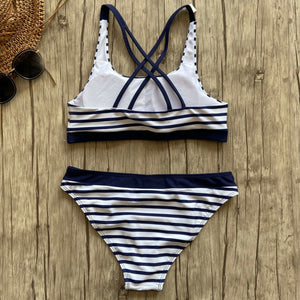 New For 2020 Sexy Striped Beach Girl Bikinis Set Bathing Push Up Swimsuit Bathing Suit - SolBikini