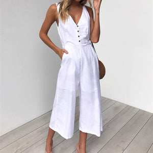 New Jumpsuits Romper Elegant Black Sleeveless Tank Play-suits Casual Long Bodysuit Overalls - SolBikini