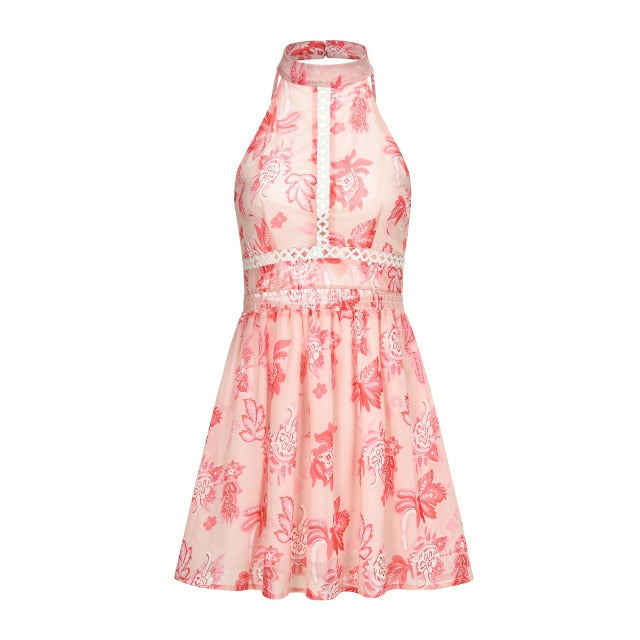 New Bohemian Summer Beach Girl Floral Print Elastic High Waist Sexy Backless Lace Chiffon Mini Dress - SolBikini