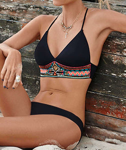 Sexy bikini set push up swimsuit print fringe bikini beach girl bathing new for 2020 bathing suits - SolBikini