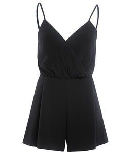 Black v neck low cut sling summer casual beach short elegant backless strap play-suit high waist jumpsuits - SolBikini