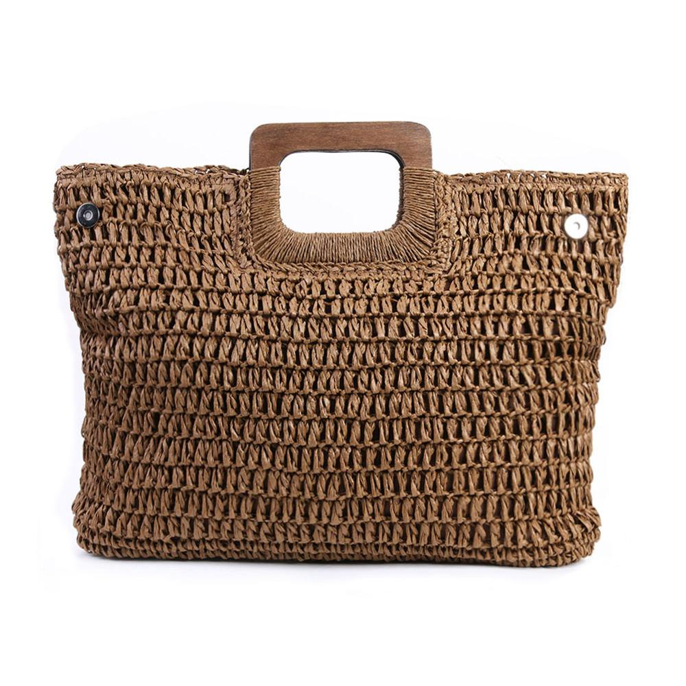 Vintage Bohemian straw bag summer large capacity beach handmade rattan knitted bags travel purses - SolBikini