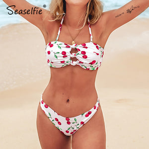 Sexy cherry print knots halter thong bikini sets lace up swimsuit two piece bathing suit new for 2020 beach girls - SolBikini