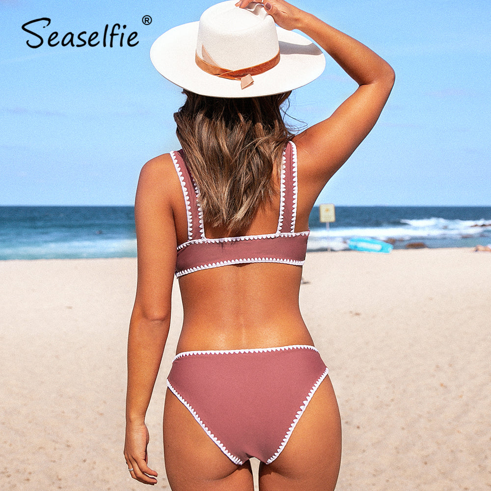 Sexy Pink and White Crochet Trim Sporty Bikini Two Piece Bathing Suit New For 2020 Summer Beach Girl - SolBikini