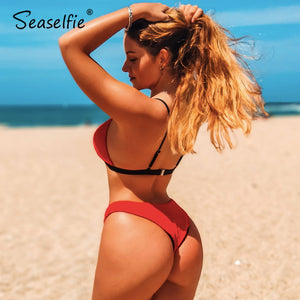 Sexy Red Textured Triangle Thong Bikini Sets Low-rise Swimsuit Two Piece Bathing Suit new for 2020 Beach gilr - SolBikini