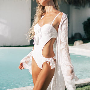 Sexy new for 2020 white lace backless push up bathing one piece swimsuit rope cut summer beach girl monokini trikini - SolBikini
