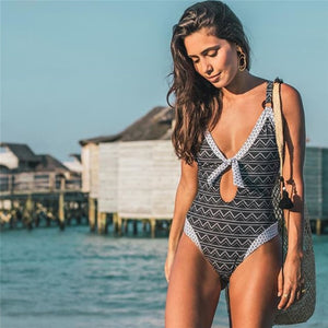Sexy new for 2020 tropical palm leaf floral one piece ruffles push up swim swimsuit monokini summer beach girl - SolBikini