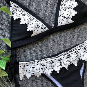 Sexy swim suit new for 2020 sexy lace lining bra swimsuit summer beach girl bikini - SolBikini