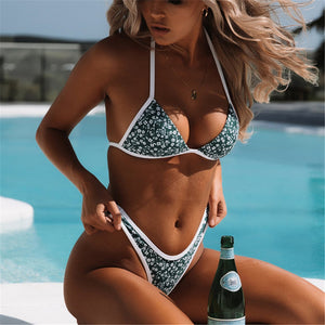 Sexy floral thong Brazilian bikini micro 2020 high cut tie front swimsuit white edge new for 2020 summer beach girl - SolBikini